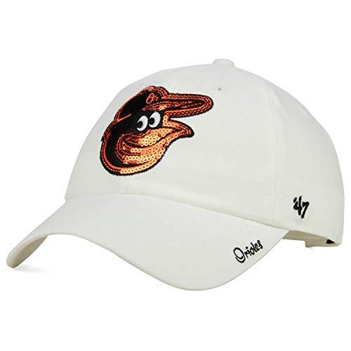 ('47 Baltimore Orioles Womens Dazzler Shine Sequin Mascot Head Logo Strapback Slouch Dad Cap Hat)