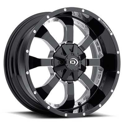 "UPC 886821147359, Vision 420 Locker Gloss Black Milled Spoke Wheel with Milled Finish (20x9""/5x139.7mm)"