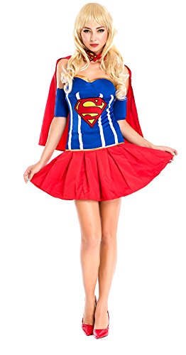 Ace Halloween Adult Women's Sexy Superwoman Supergirl Costumes (Superwoman Costumes For Girls)