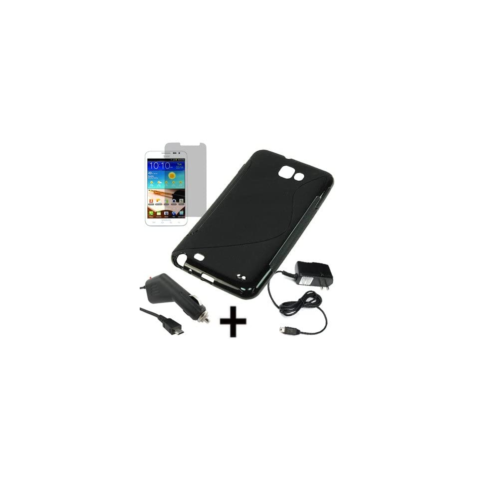 BW TPU Sleeve Gel Cover Skin Case for AT&T Samsung Galaxy Note i9220 i717 + LCD + Car + Home Charger  Black