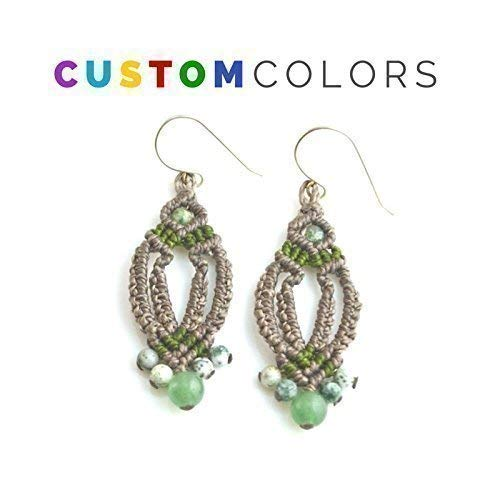 Contemporary Chandelier Head - Custom Made Arrowhead Micro Macrame Earrings with Jade and Qinghai Jasper Stones and Sterling Silver French Hooks: Customized and Hand-Knotted by Rumi Sumaq
