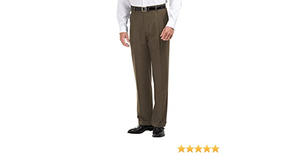 Brooks Brothers Mens Madison Fit Pleated Cuffed Hem Dress Pants Taupe Brown