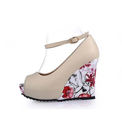 BalaMasa Womens Animal-Print Wedges Soft Material Sandals Beige XQtyl