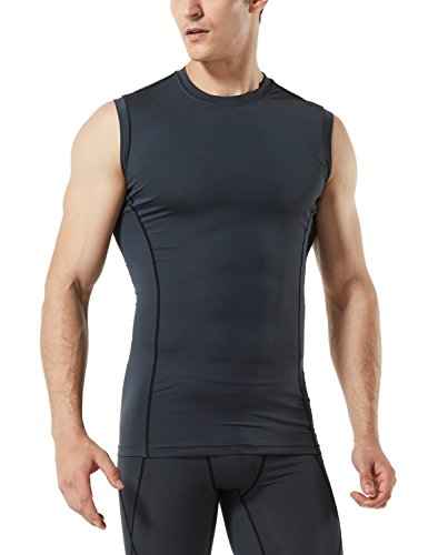 TM-MUA05-CHC_Large Tesla Men's R Neck Sleeveless Muscle Tank Dry Compression Baselayer MUA05