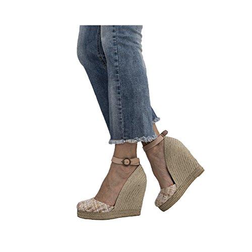 MTBALI Sandalen mit Keilabsatz Alpargata Damen - Modell Altea Principesca Pink