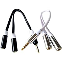 HTTX 4-Pole 3.5mm Stereo Headset Splitter, Male to Dual Female, Stereo Headphone Jack Flat Cable Adapter For iPhone iPad itouch External Speaker (Black&White, 2-Pack)