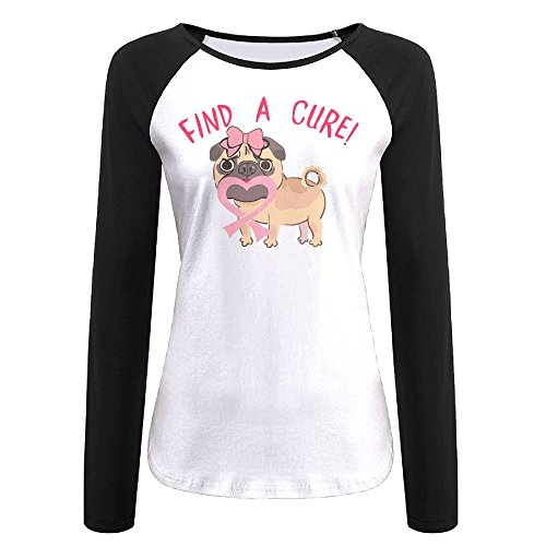 Find A Cure Breast Cancer Awareness Pug Women's Long Sleeve Raglan Tunics T-Shirt Blouse Tops L