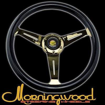 "Morningwood Real Mahogany Black/24K Steering Wheel 360Mm/14"" Deepdish Classic P3 for Suzuki Samurai"