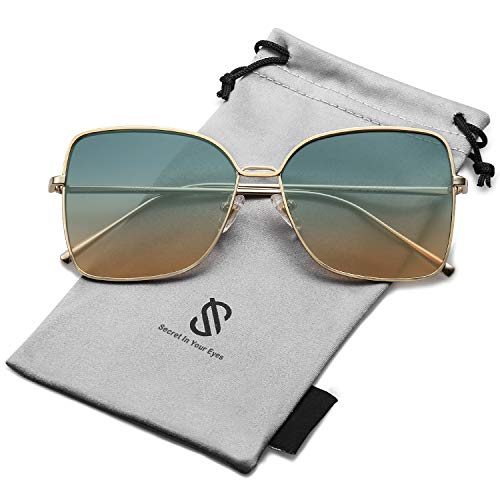 SOJOS Fashion Designer Square Sunglasses for Women Flat Mirrored Lens SJ1082 with Gold Frame/Green and Brown ()