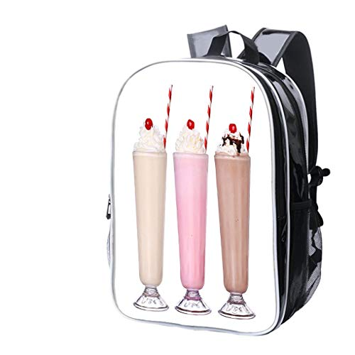- High-end Custom Laptop Backpack-Leisure Travel Backpack Milkshakes Chocolate Flavor Set Collection with Cherry on top Isolated Water Resistant-Anti Theft - Durable -Ultralight- Classic-School-Black