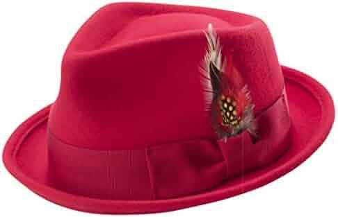 bae50d629c921 MONTIQUE Bogart Stingy Brim Fine Heather Wool Felt Teardrop Dent Hat  Feather H-54