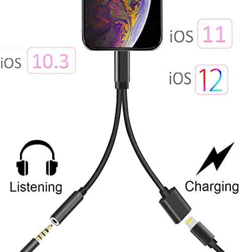 2 in 1 Adapter Compatible with iPhone XS Max/XS/XR/X 10/7/7 Plus/8/8 Plus, Compatible with iPhone Adapter/Splitter, 2-Port Headphone Audio and Charger Adapter,Compatible with iOS 10.3, iOS 11 or Later