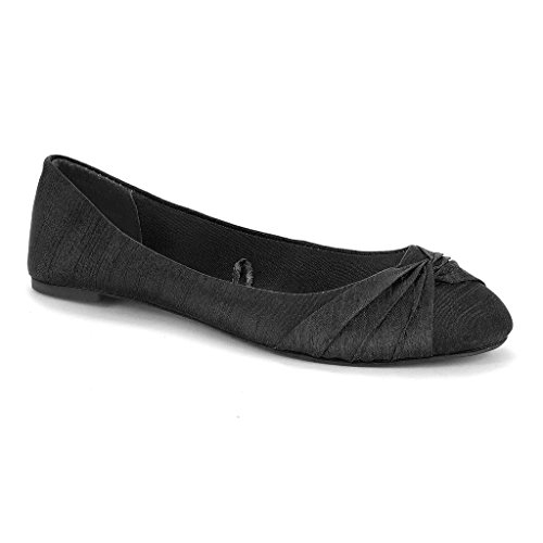 Twisted Women's RUBY Linen Knotted Toe Ballet Flat - BLACK, Size 9
