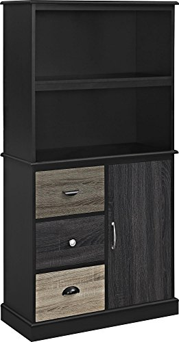 Ameriwood Home Mercer Storage Bookcase with Multicolored Door and Drawer Fronts, (Black Office Furniture)