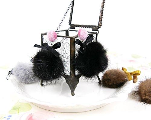 Genuine Mink Fur Pom Pom Earrings/Fluffy Mink dangle Earrings/ Tie bow velvet Earrings/ Fur drop Earrings/ Fur jewelry