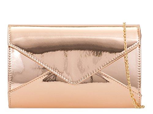 Ladies Metallic Patent Clutch Bag - Women's Shiny Cocktail Party Handbag Purse KL2103 Champagne