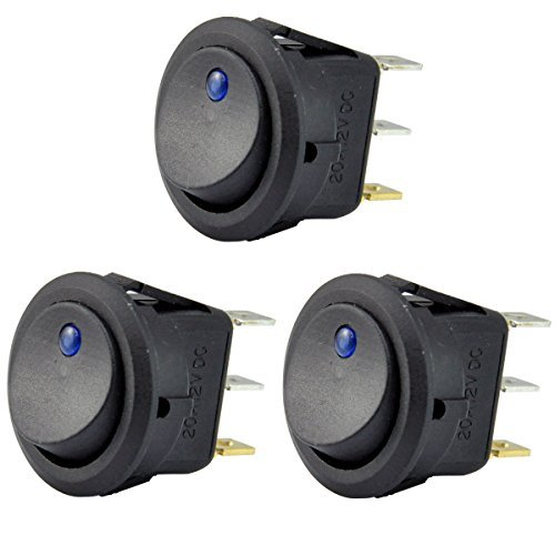 Off Switch - AutoEC 3pc 12V 20A Car Truck Round Rocker Toggle LED Switch Blue Light SPST On-off Control