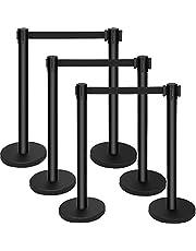 Mophorn 6PCS Stanchion Queue Post, Black 6.5ft Retractable Belt 36In Height, Stanchion Posts Queue Pole for Crowd Control Barriers