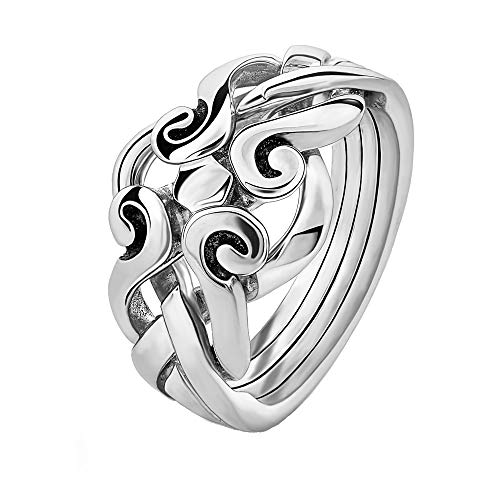 Sterling Silver Puzzle Ring 4ANS - Size: 7 (Claddagh Puzzle Ring)