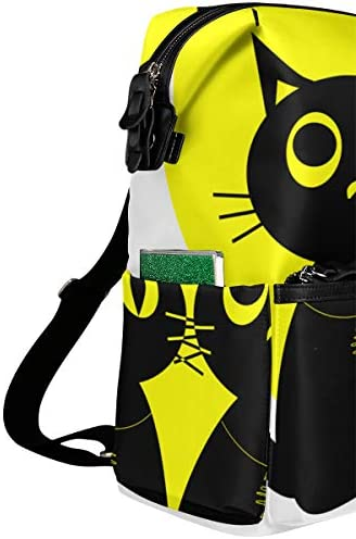 KIMDFACE Mochila,Vector Ilustración Pareja Gatos Negros