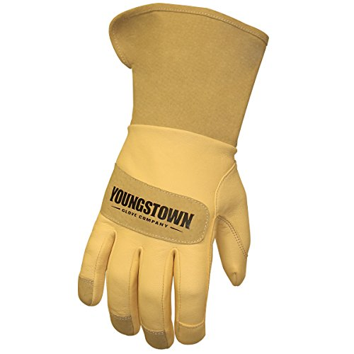 (Youngstown Glove 11-3255-60-L Leather Utility Wide-Cuff Gloves, Large, Brown)