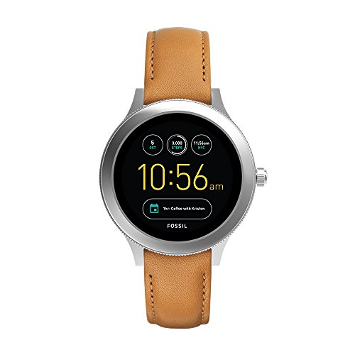 Fossil Q Women's Gen 3 Venture Stainless Steel and Leather Smartwatch, Color: Silver-Tone, Brown (Model: FTW6007)