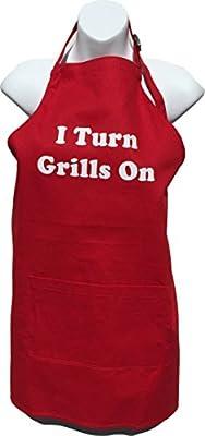 BBQ Bud, Men's Fun Grilling Apron: I Turn Grills On