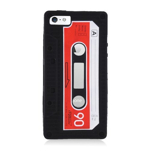 Eagle Cell Cassette Tape Skin Cover for iPhone 5/5S - Retail Packaging - Black - Cassette Silicone Skin