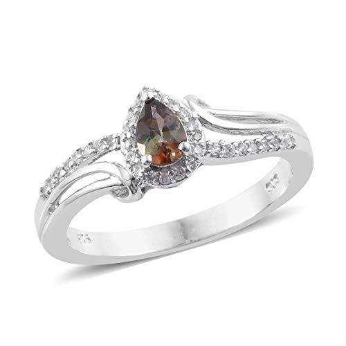925 Sterling Silver Platinum Plated Andalusite Zircon Fashion Ring for Women and Girls Size 8 Cttw 0.5