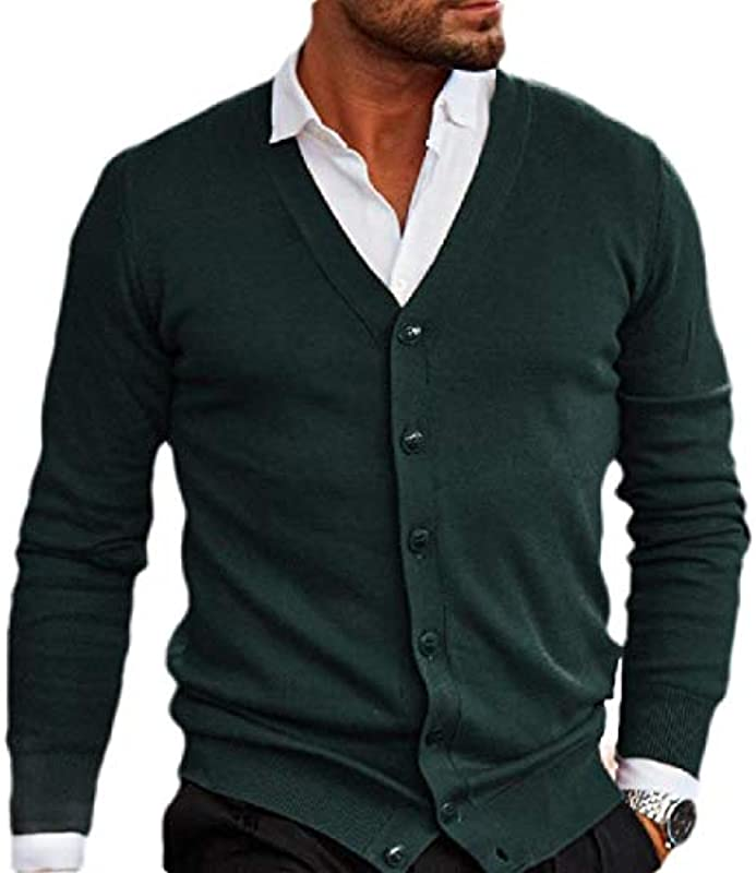 HenShiXin Bieten Męskie Langarm Strick Button-Down-dünne Art- und Plain Sweater Cardigan Schnell (Color : Green, Size : XX-Large): Küche & Haushalt