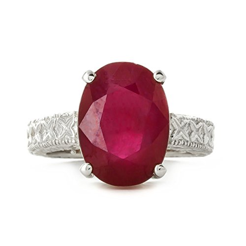 14K White Rose Yellow Solid Gold Filigree Ring with Oval Shape Ruby (White-Gold, 5.5)