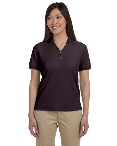 Pima Cotton Pique Polo Shirt (Devon & Jones Ladies' Pima Piqué Short-Sleeve Y-Collar Polo 2XL Espresso)