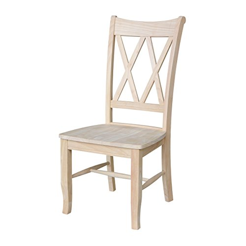 International Concepts C-20P Double X Back Chairs, Unfinished, Set of 2 (Barn Style Chair Pottery)