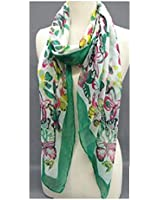 """""""Fashion Scarf""""~ White with """"Green"""" Butterflies and Border ~ 27"""" x 70"""""""