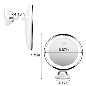 KOOLORBS 10X Magnifying Makeup Mirror with Lights, 3 Color Lighting, Intelligent Switch, 360 Degree Rotation, Powerful Suction Cup, Portable, Good for Tabletop, Bathroom, Traveling
