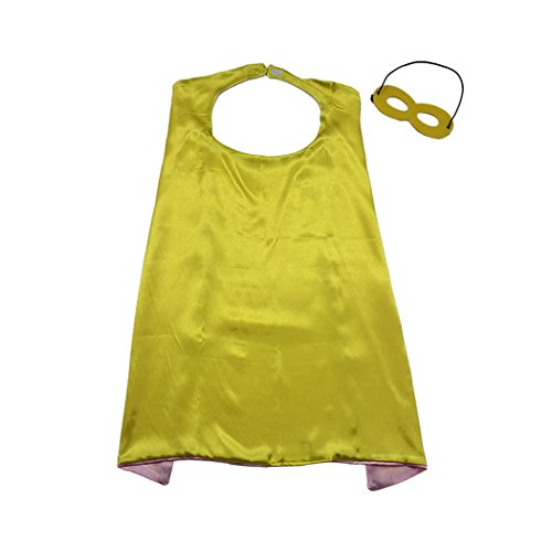 Whoopgifts 90cm x 70cm Superhero Kids Girl Boy Cape and Mask Costume for Child, Yellow&Pink -