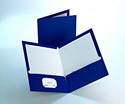 Staples; 2-Pocket Laminated Folders, Dark Blue, 10/Pack