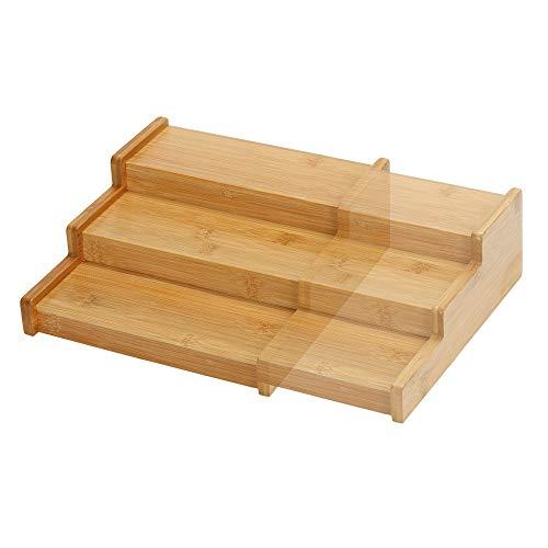Lustiger Chef Bambus Holz Gewürzregal Ausziehbar Leer, Gewürz Organizer Aufbewahrung, Gewürzständer für Arbeitsfläche…