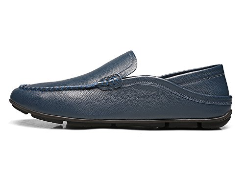 No.66 Town Hombres Driving Leather Flats Mocasines Casual Boat Zapatos Blue