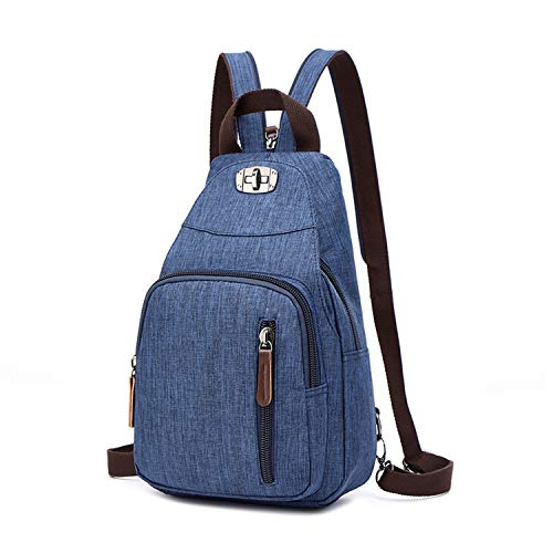 Waterproof Fabric Retro Daily Travel Small Backpacks Bag Female Casual Floral Chest Bags,blue (Phone Barn Number Pottery)