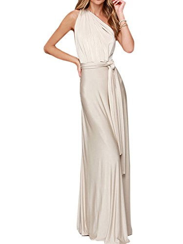 PERSUN Infinity Gown Dresses Multi-Way Strap Wrap Convertible Maxi Dresses For Womens,White,S (Strap White Multi)