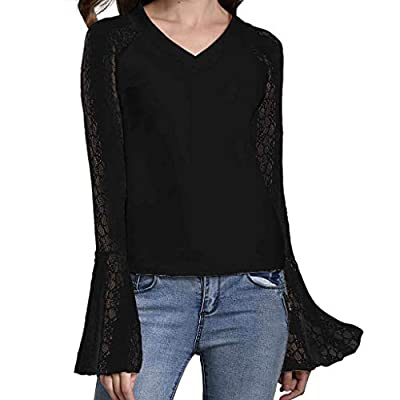 Women Lace See Through Flare Long Sleeve V-Neck Casual T-Shirt Blouse Tops