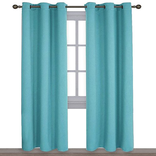 NICETOWN Window Treatment Thermal Insulated Solid Grommet Blackout Curtains/ Drapes For Bedroom (Set Of 2 Panels,42 By 84 Inch,Turquoise)