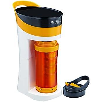Mr. Coffee pour. Bebida. GO. 16-ounce cafetera Personal con taza de to-go aislada, Midnight negro, bvmc-mlbl, Anaranjado mandarina, 1