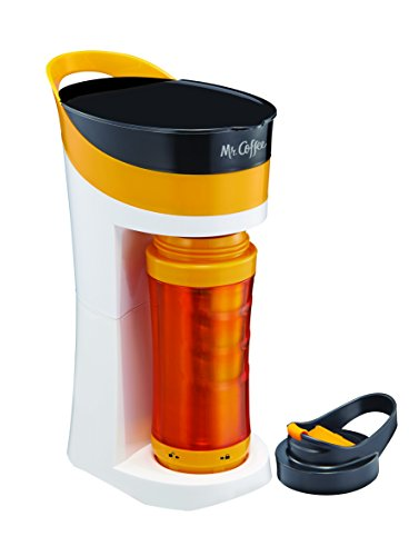 Mr. Coffee Pour! Brew! Go! 16-Ounce Personal Coffee Maker with Insulated TO-GO mug, Tangerine Orange, BVMC-MLOR