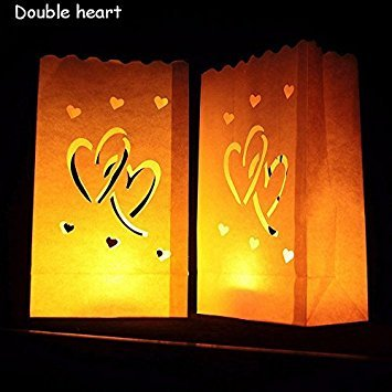 Adeeing Double Heart Luminary Paper Lantern Candle Bag Flame Retardant Paper Bag for Wedding,Reception,Party and Event Decor 10pcs/set