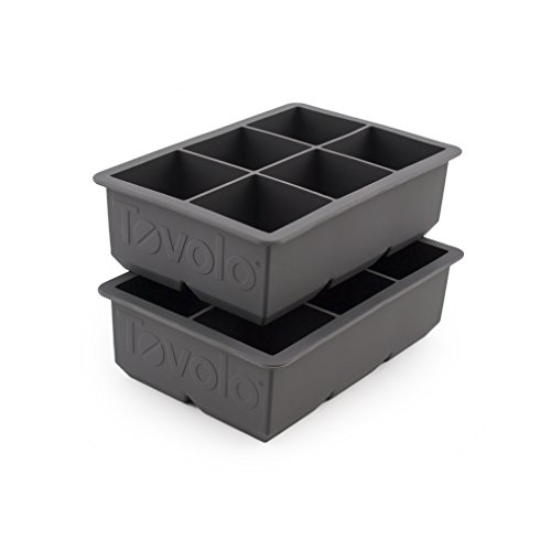Tovolo Ice - Tovolo King Cube Ice Mold Tray, Long Lasting Sturdy Silicone, Fade-Resistant, 2 Inch Cubes, Set of 2 Trays, Charcoal Gray