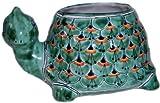 Green Peacock Turtle Talavera Ceramic Planter For Sale