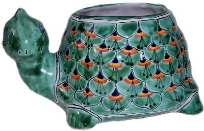 (Fine Crafts Imports Green Peacock Turtle Talavera Ceramic Planter)