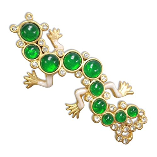(pricegems Enameled Green and Clear Jeweled Elizabethan Lizard Salamander Gecko Pin Brooch 2